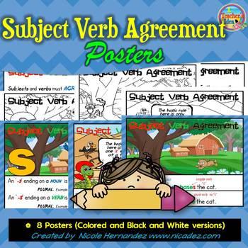 Subject Verb Agreement Charts Teaching Resources Teachers Pay Teachers