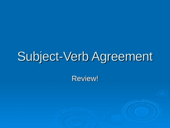 Subject-Verb Agreement Power Point Presentation