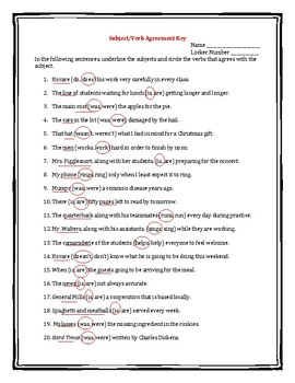 Subject/Verb Agreement Practice