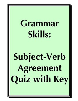 Subject Verb Agreement Practice ACT/SAT/PSAT Quiz with Key