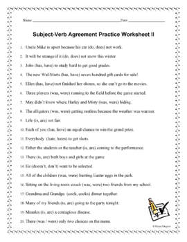 Subject Verb Agreement Worksheets by HappyEdugator | TpT