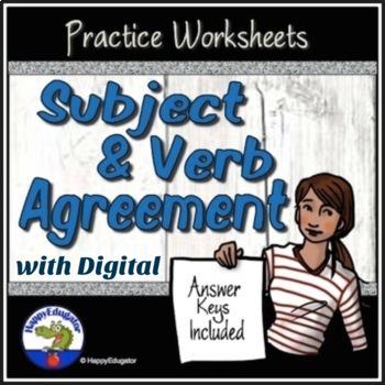 Subject Verb Agreement Grammar Worksheets by HappyEdugator | TpT