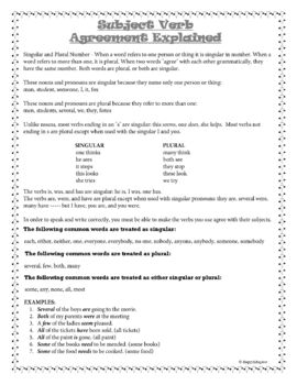 Subject Verb Agreement Grammar Worksheets