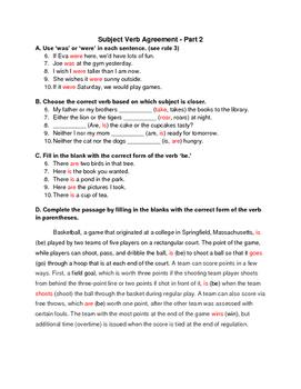 Subject Verb Agreement Practice part 2