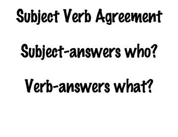 Subject Verb Agreement Printable Chart