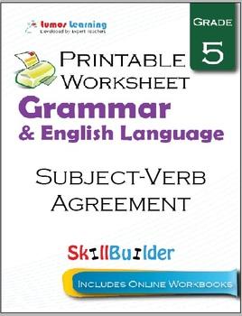 Subject-Verb Agreement Printable Worksheet, Grade 5