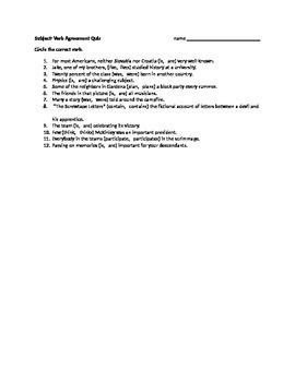 Subject- Verb Agreement Quiz