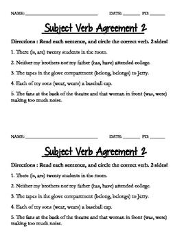 Subject Verb Agreement Quiz 2