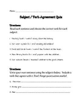 Subject Verb Agreement Quiz