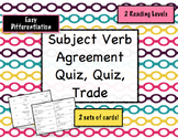 Subject Verb Agreement Quiz and Trade {Differentiated}