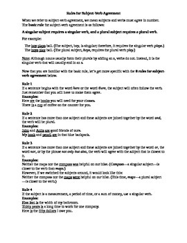 Subject Verb Agreement Rules and Practice
