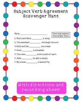 Subject Verb Agreement Scavenger Hunt Activity