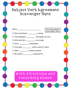 Subject Verb Agreement Scavenger Hunt Activity