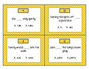 Subject Verb Agreement Scoot Game