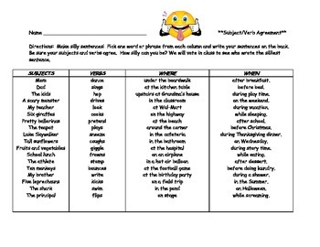 Subject Verb Agreement Silly Sentences