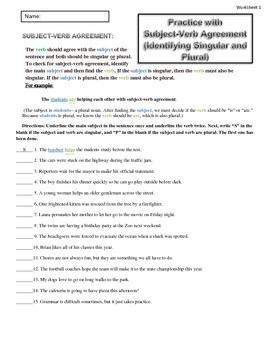 Subject-Verb Agreement: Singular or Plural (2) Worksheets