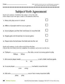 Subject-Verb Agreement (Take It to Your Seat Centers: Common Core Language)