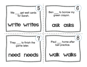 Subject Verb Agreement {Task Cards}