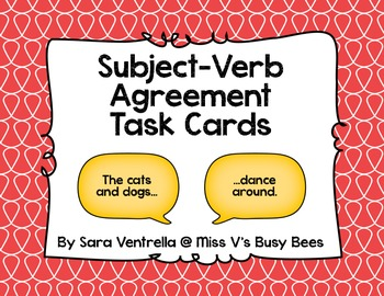 Subject Verb Agreement Task Cards (CC Aligned)