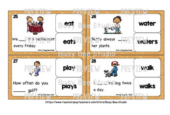 Subject Verb Agreement Task Cards for ESL Students