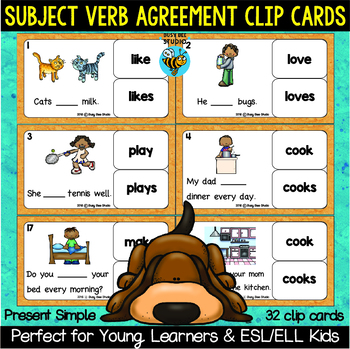 Subject Verb Agreement Task Cards For Esl Students By Busy Bee Studio