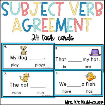 Subject-Verb Agreement Task Cards
