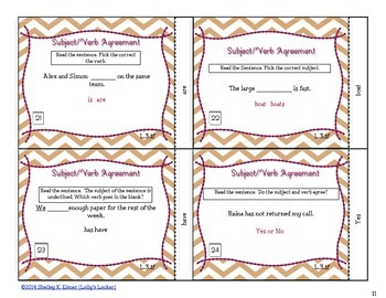 Subject-Verb Agreement Task Cards 3.L.1.f