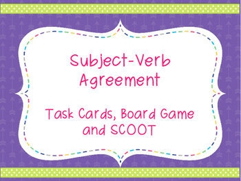 Subject-Verb Agreement Task Cards, SCOOT, and Board Game