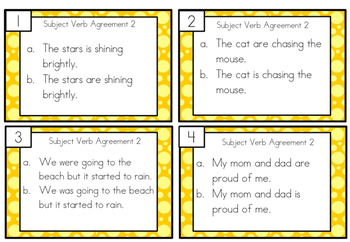 Subject Verb Agreement Task Cards Sample