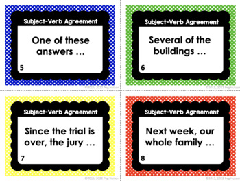 Subject-Verb Agreement Task Cards - Set 1