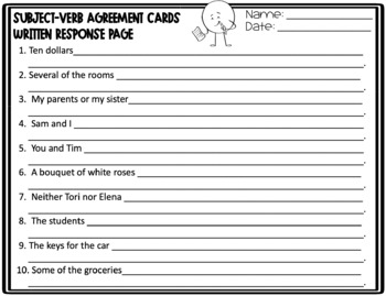 Subject-Verb Agreement Task Cards - Set 2