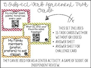 Subject-Verb Agreement Task Cards {With or Without QR Codes}