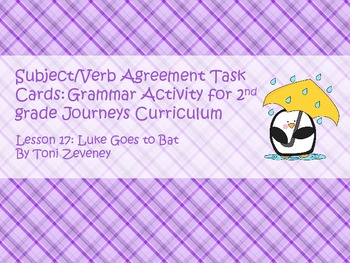Subject Verb Agreement Task Cards for Journeys Grade 2