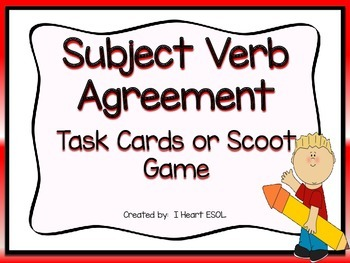 Subject Verb Agreement Task Cards or Scoot Game