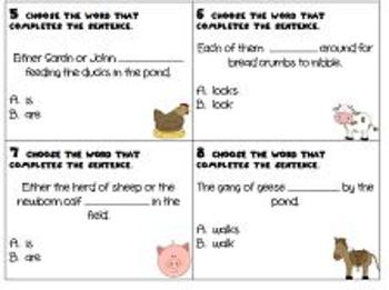 Subject-Verb Agreement Task Cards or Scoot Game- Farm Theme