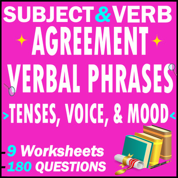 Subject Verb Agreement, Tenses, Verbals, Voice and Mood Test Pack | 180 MCQs