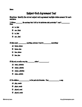 Subject-Verb Agreement Test