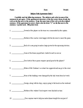 Subject-Verb Agreement - Two Quizzes with Answer Keys - CCSS Aligned