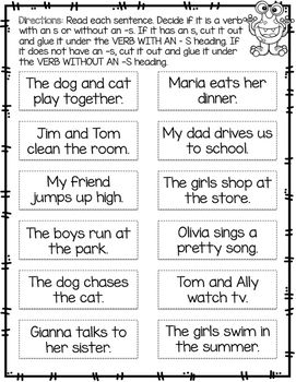 Subject Verb Agreement - Verbs with and without -s Cut and Sort