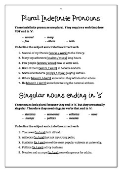 Subject-Verb Agreement Workbook + Answer Key + PPT