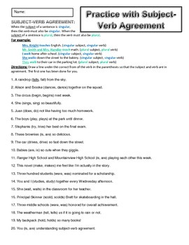 Subject-Verb Agreement Worksheets (2) and Answer Key