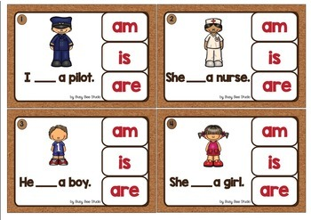 Subject Verb Agreement (am - is - are) Clip Cards