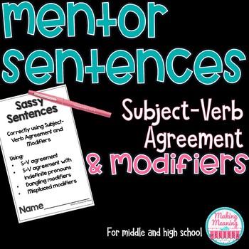Mentor Sentences Subject Verb Agreement Middle High School Tpt