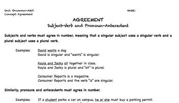 Subject Verb Agreement and Pronoun Antecedent Agreement