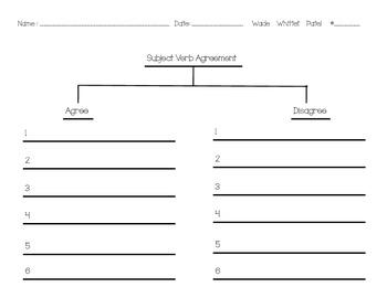 Subject-Verb Agreement/Disagreement Sort