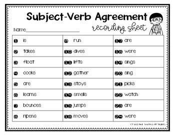 Subject Verb Agreements Grammar Task Cards, Games, and Centers