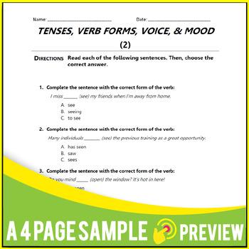 Subject Verb Agreements, Tenses, Verbals. Grammar Worksheets. MCQs | Gr 9-10