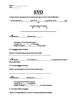 Subject, Verb, Object Skeletal Notes and Practice Worksheet