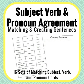Subject Verb & Pronoun Agreement Activity