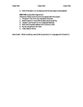 Subject/ Verb Quiz
